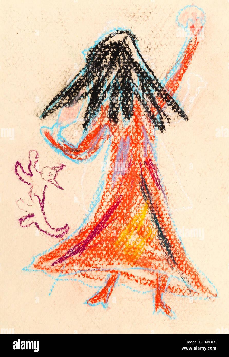 Kinder Zeichnen Wenig Hexe Mit Langen Schwarzen Haaren Im Roten