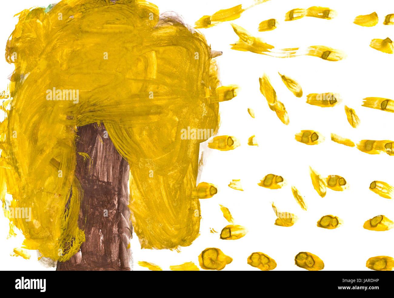 Kinder Zeichnen Baum Und Fallende Blatter Im Herbst Gelb Stockfoto