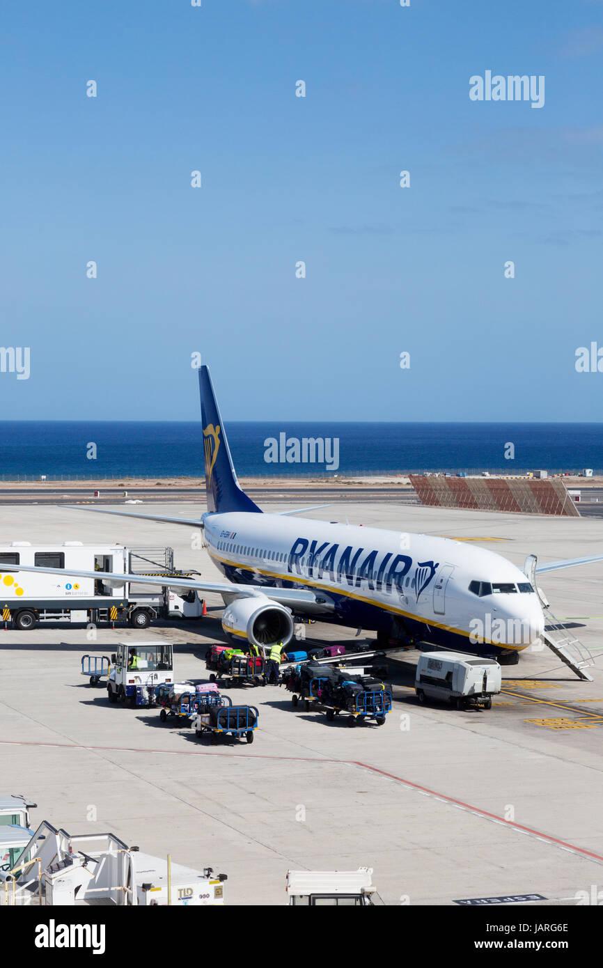 Ryanair-Flugzeug-Lanzarote Flughafen, Lanzarote, Kanarische Inseln-Europa Stockfoto