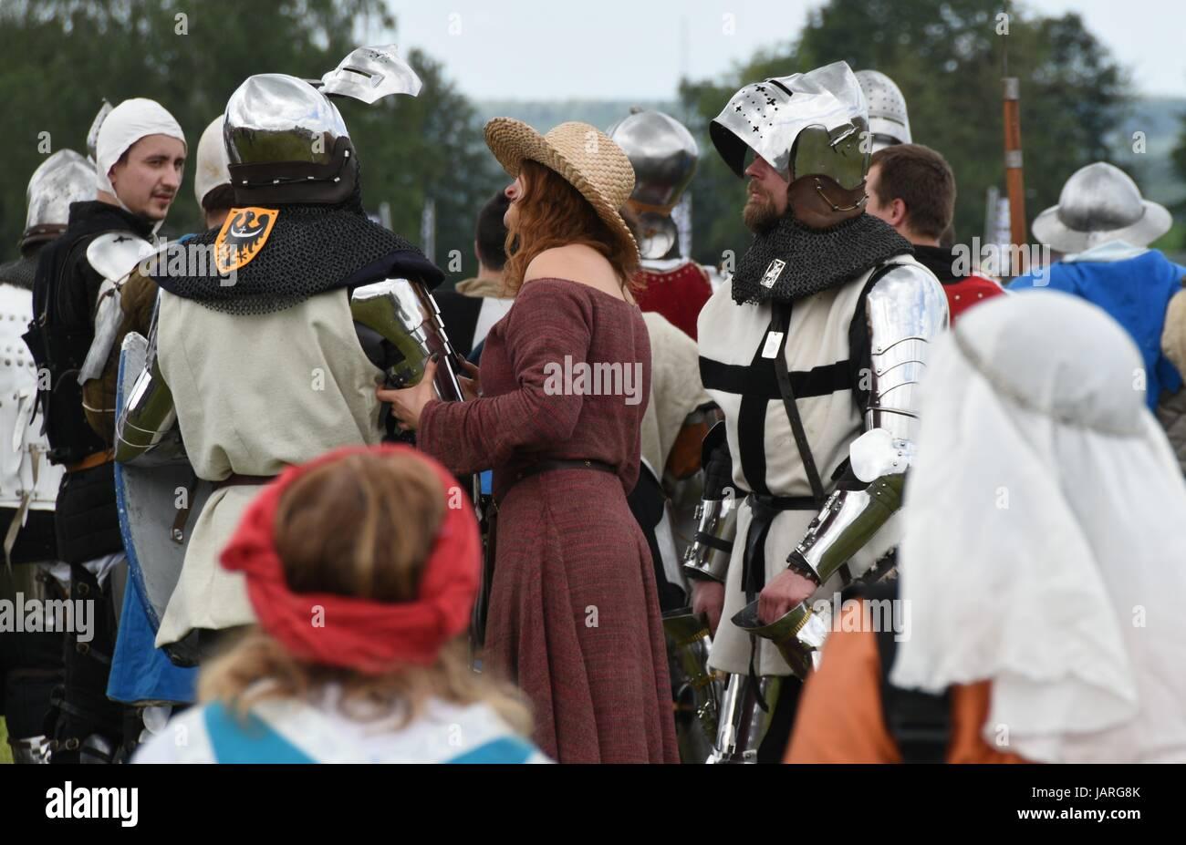 Schlacht von Grunwald. Zusammenstoß des Deutschen Ritterordens, polnischen und litauischen Ritter - die mittelalterliche Stockfoto
