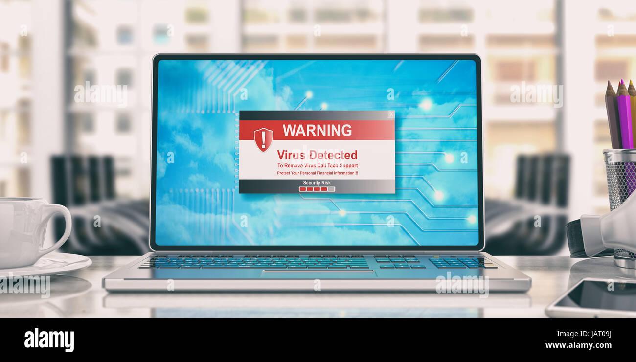 Virus gefunden Meldung auf dem Bildschirm. 3D illustration Stockbild