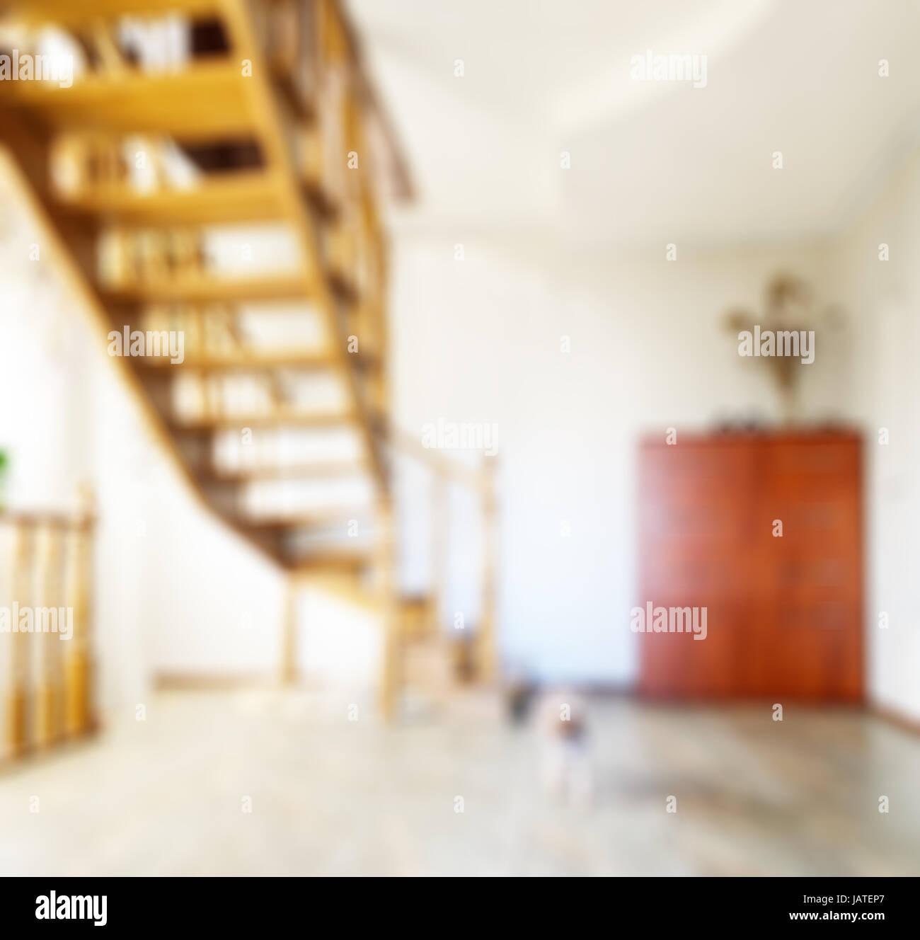 Abstrakte Unschärfe Wohnzimmer Interieur Mit Holz Treppe Für Hintergrund