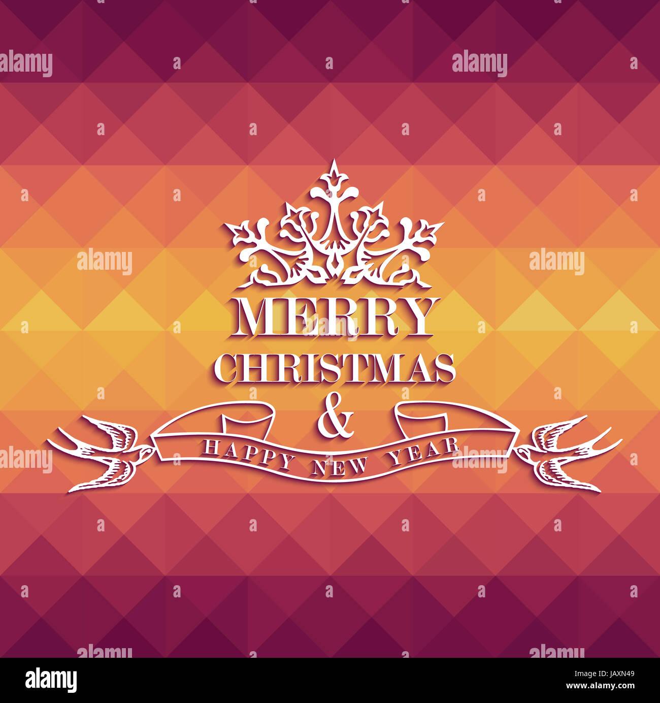 Frohe Weihnachten Vintage Beschriftung mit Farben Dreieck ...