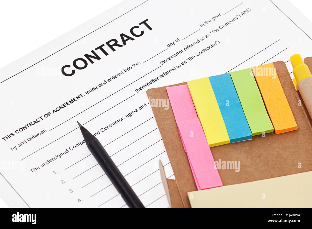 Vertrag Geschäftsvereinbarung mit Bleistift und Notizzettel ...