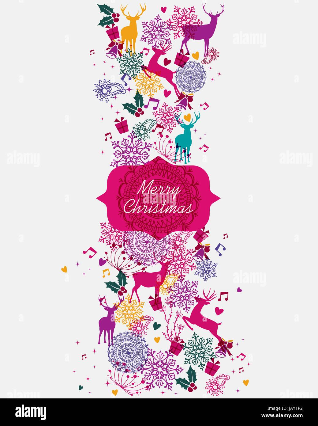 Frohe Weihnachten-Banner lebendige Farben Musterdesign Hintergrund ...