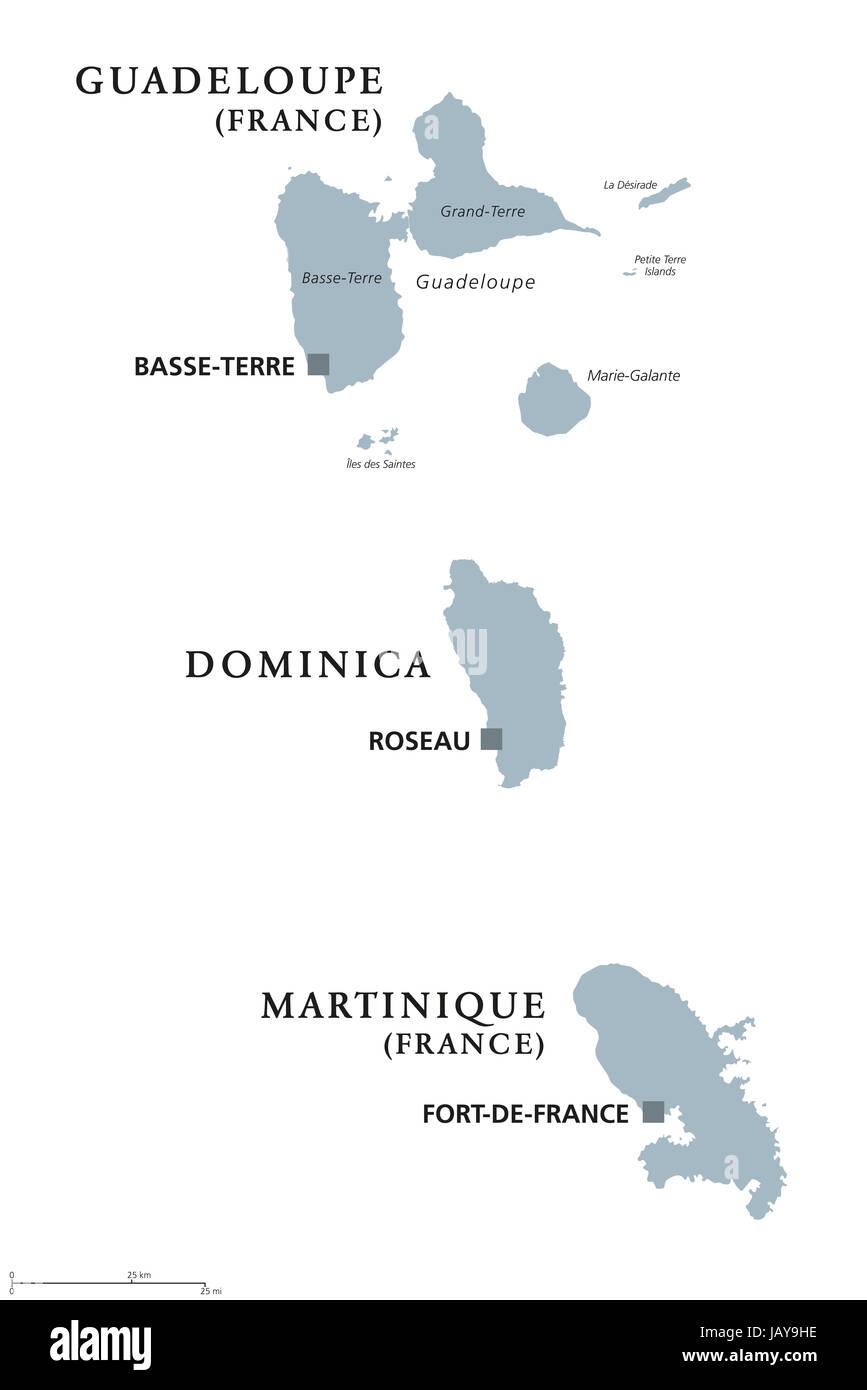 Guadeloupe, Dominica, Martinique politische Karte mit Hauptstädten Basse-Terre, Roseau und Fort-de-France. Karibische Inseln, Teile der kleinen Antillen. Stockfoto