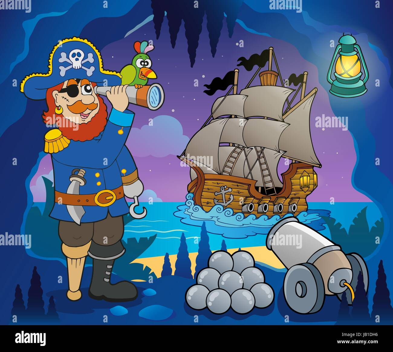 Pirate Cove Thema Bild 5 - Bild-Darstellung. Stockbild