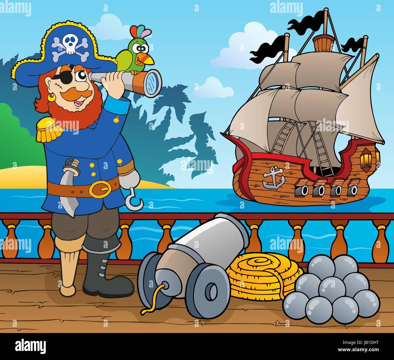 Piraten Schiff Deck Thema 1 - Bild-Darstellung. Stockbild
