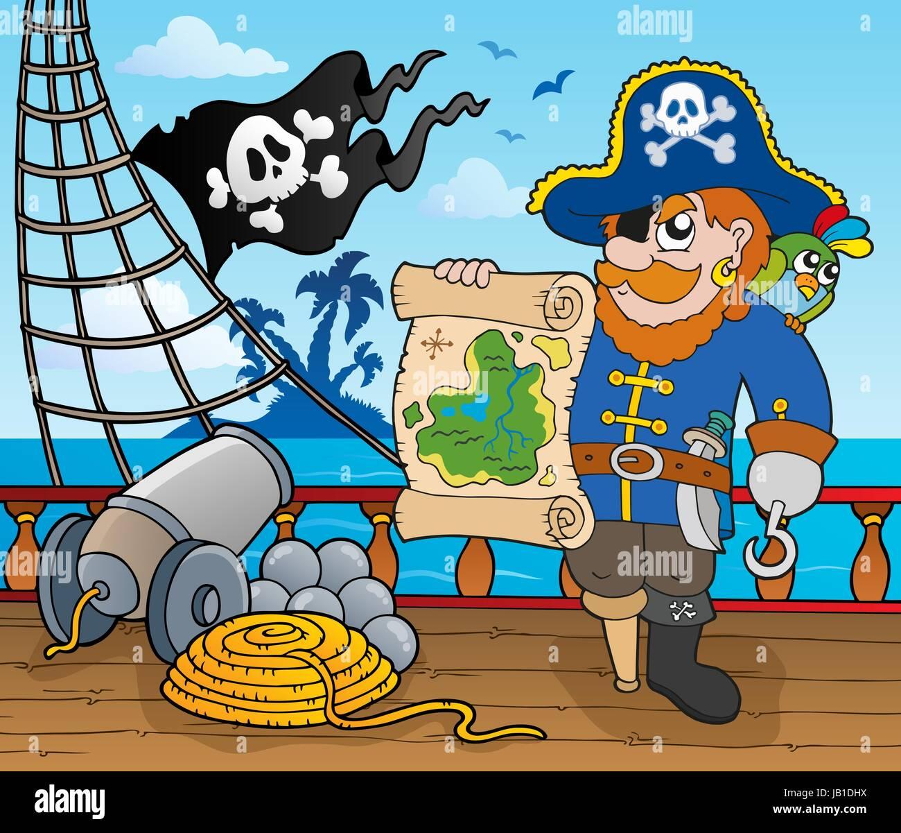 Piraten Schiff Deck Thema 2 - Bild-Darstellung. Stockbild