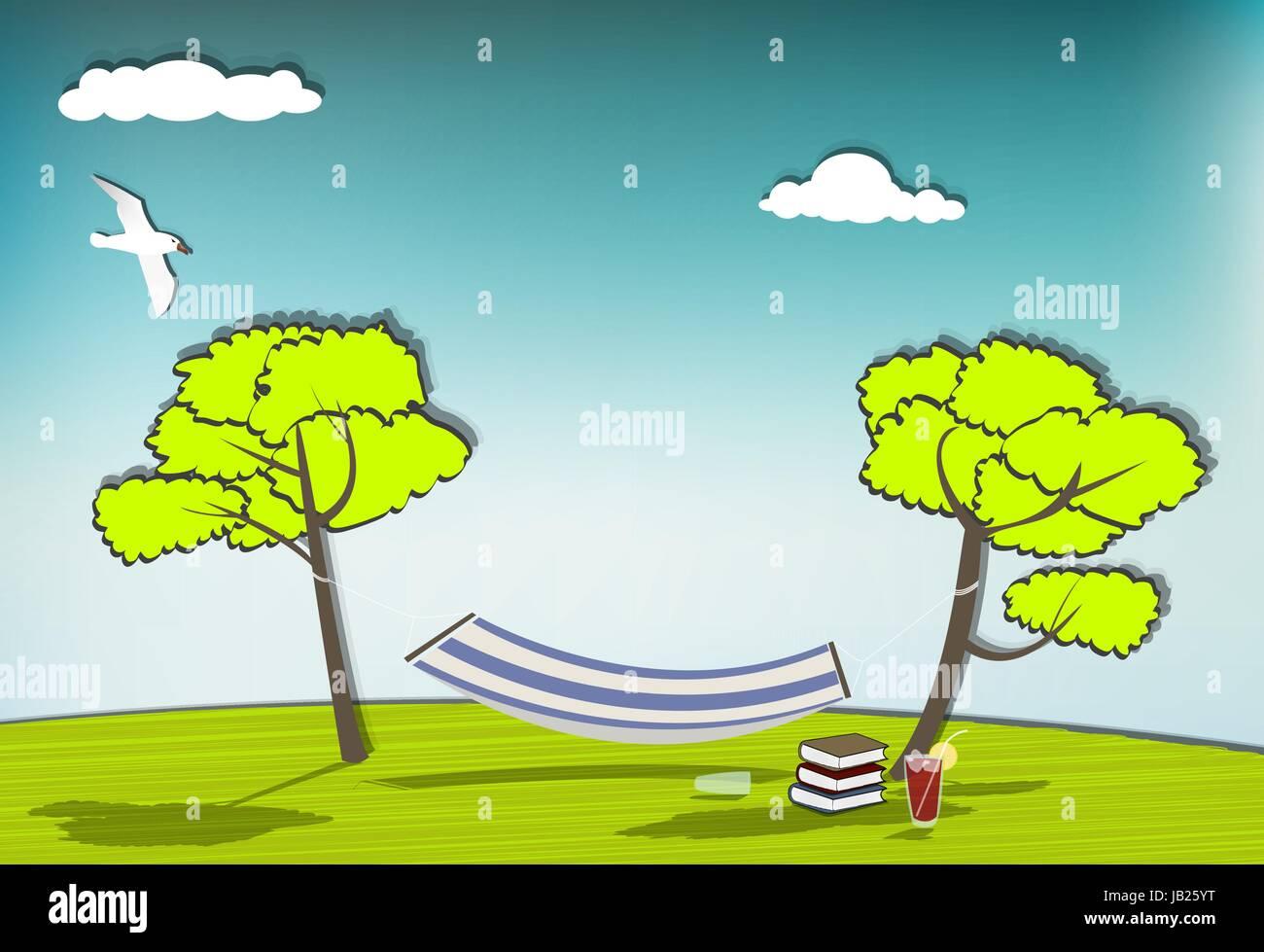 Idyllische Szene mit einer Hängematte, blauer Himmel, Bücher und ...