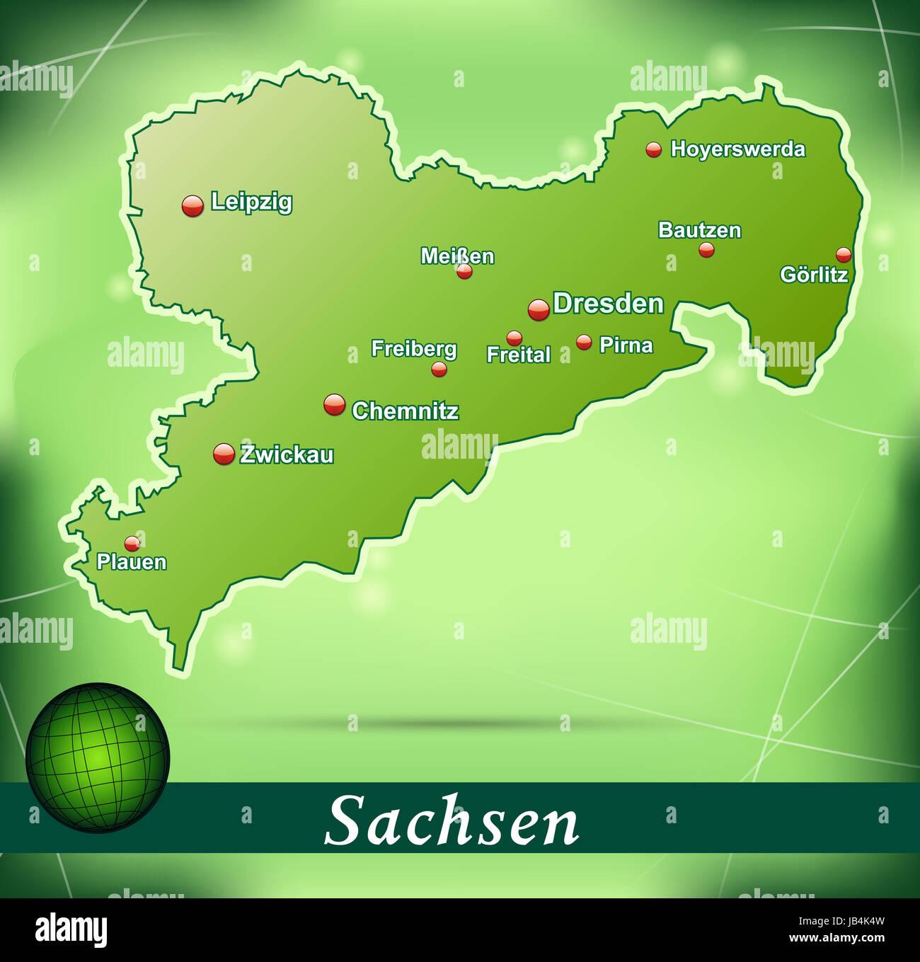 Leipzig Karte Sachsen.Sachsen In Deutschland Als Inselkarte Mit Abstraktem