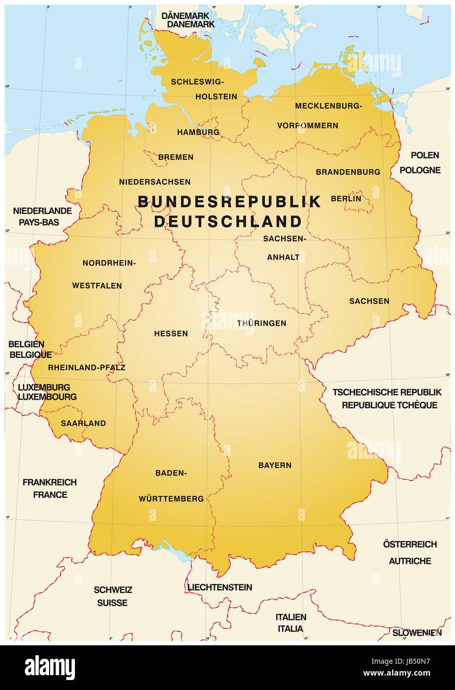 sterben sie karte k hn sterben deutschen bundesl ndern und die nachbarl nder von deutschland. Black Bedroom Furniture Sets. Home Design Ideas