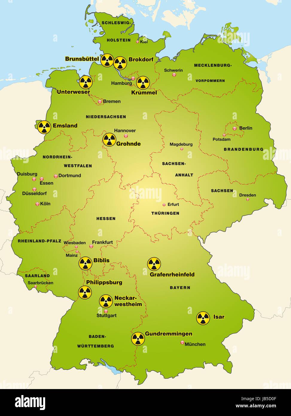 Deutschlandkarte Stockfotos & Deutschlandkarte Bilder - Alamy - Atomkraftwerke In Deutschland Karte