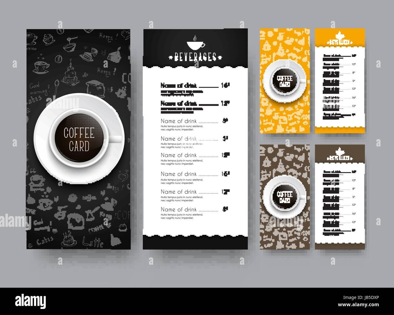 Entwurf eines schmalen Menüs für ein Café oder Restaurant. Eine ...