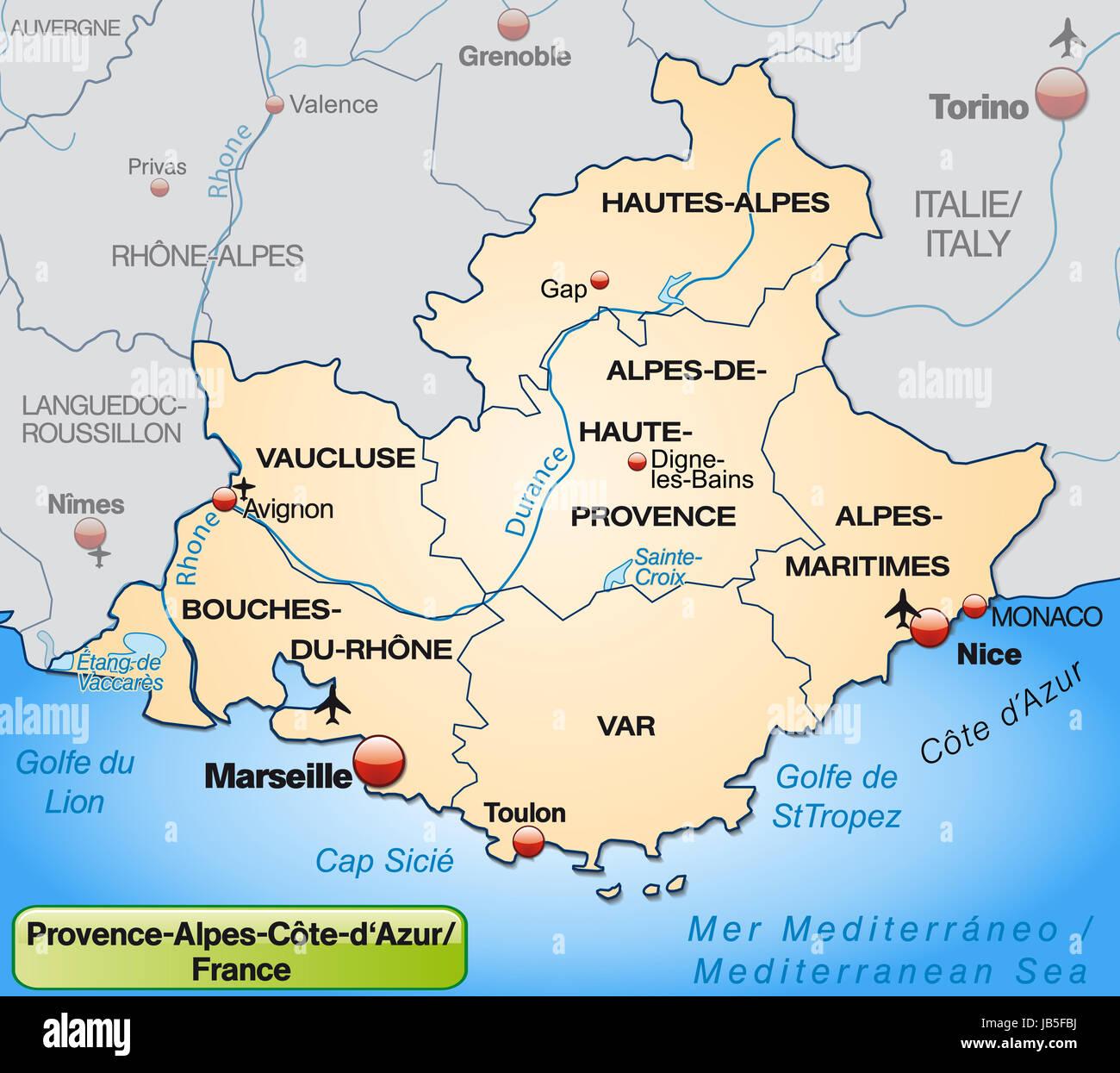 frankreich karte provence Provence Alpes Côte d ' Azur in Frankreich als Umgebungskarte Mit  frankreich karte provence