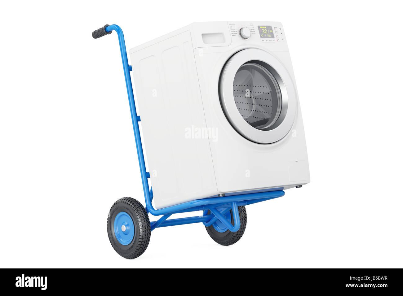 Beliebt Lieferung des Gerätes. Sackkarre mit Waschmaschine, 3D rendering LF72