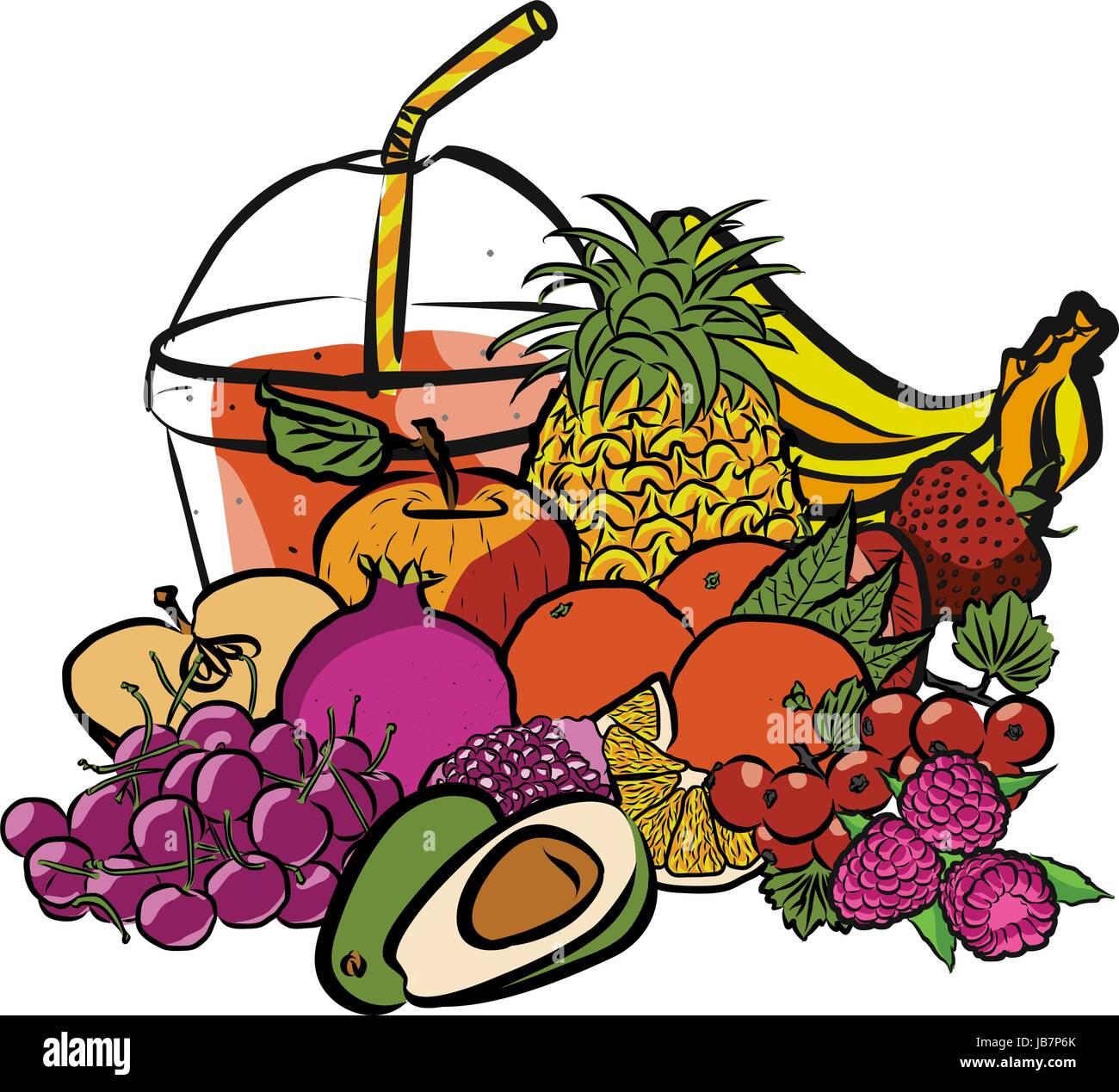 Frischen Sommerfrüchten und Smoothie to Go, farbige Grafiken getrennt auf weiß, Fresh Food Collection, Stockbild