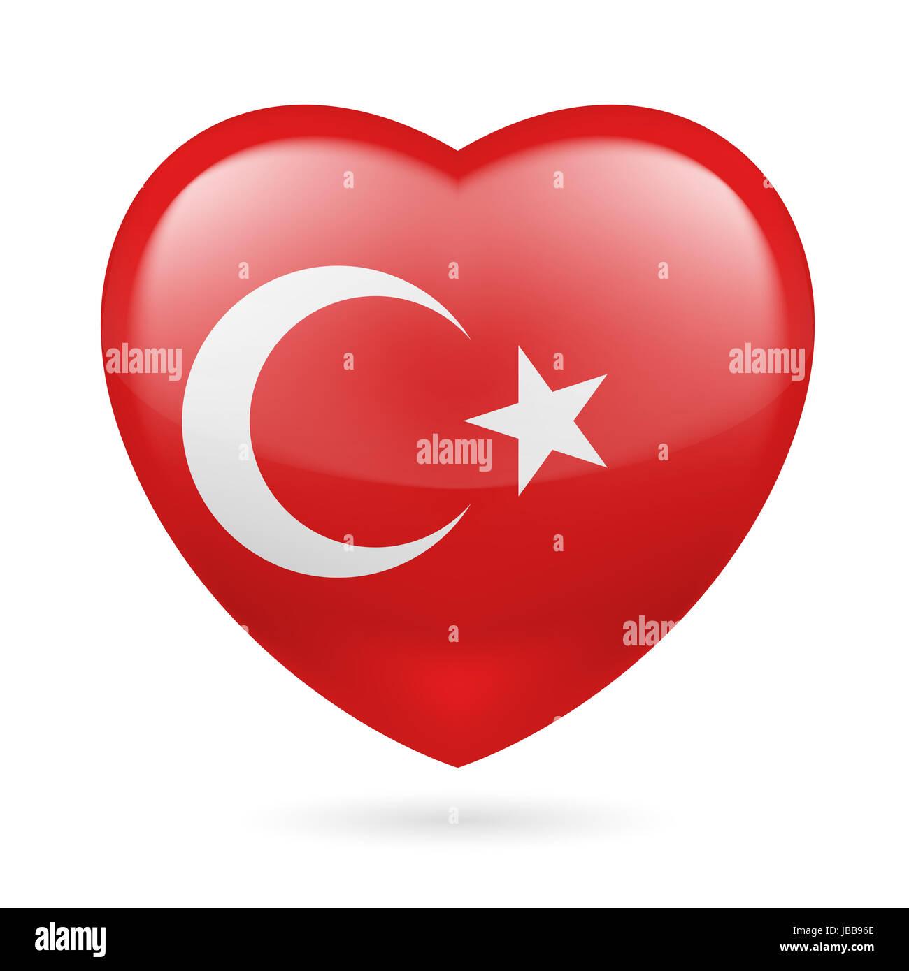 Herz mit türkischer Flagge Farben. Ich liebe Türkei Stockfoto, Bild ...