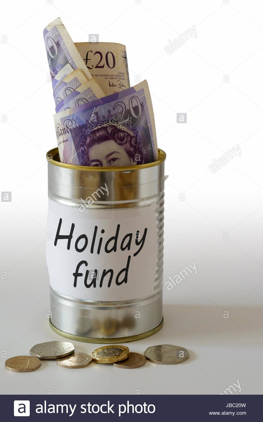 Urlaubskasse, Bargeld in einer Dose aufbewahrt kann, England, UK Stockbild