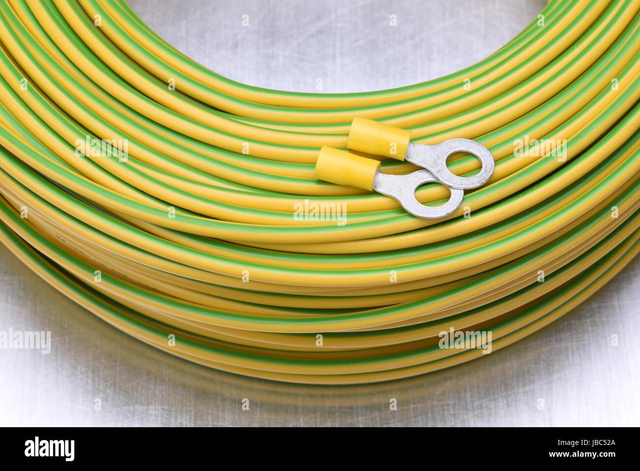 Closeup Rolle der elektrischen Kabel Stockbild