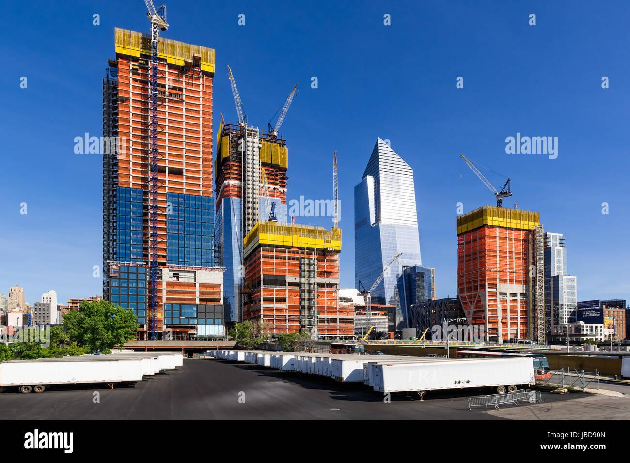 Der Hudson Yards Baustelle (2017). Midtown Manhattan, New York City Stockbild