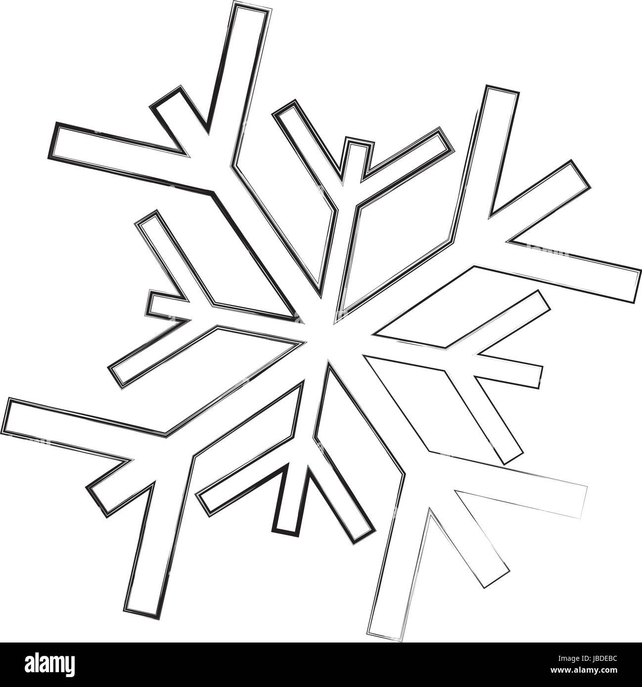 Skizze Zu Zeichnen Schneeflocke Cartoon Stock Vektorgrafik Alamy