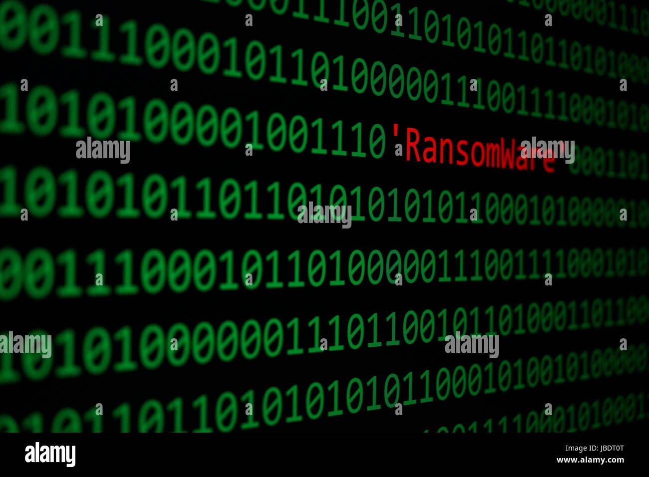 Die RansomWare und Binär-Code, der RansomWare Konzept Sicherheit und Malware-Angriff. Stockbild