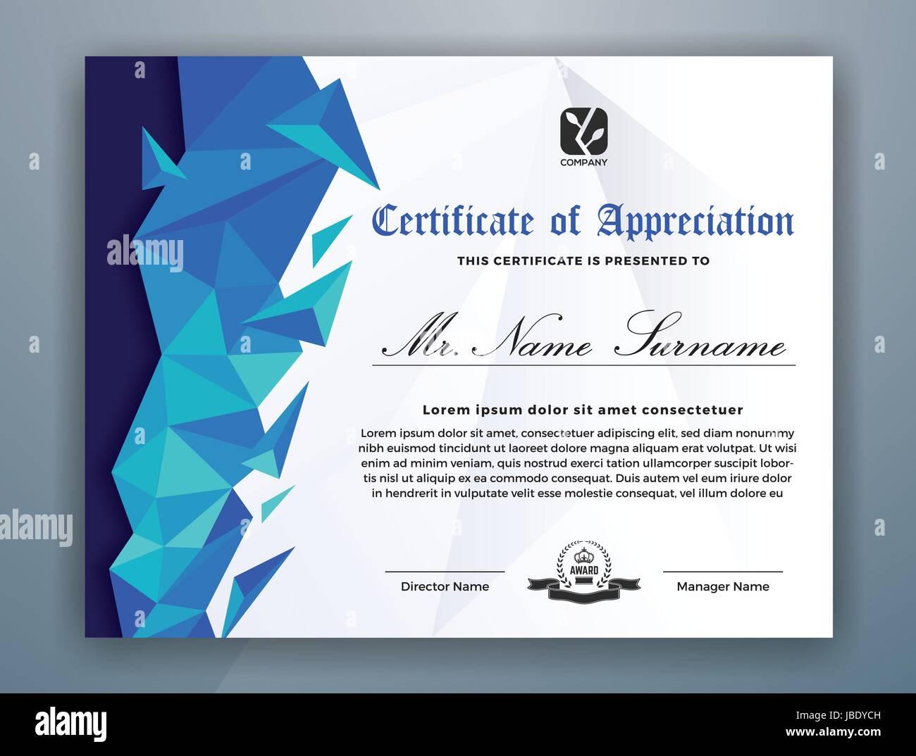 Elegant Appreciation Certificate Template Design Stockfotos ...
