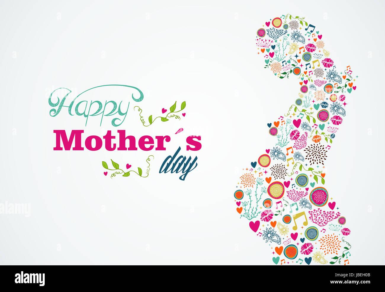 Glückliche Mütter Tag typografische Hintergrund und Silhouette der ...