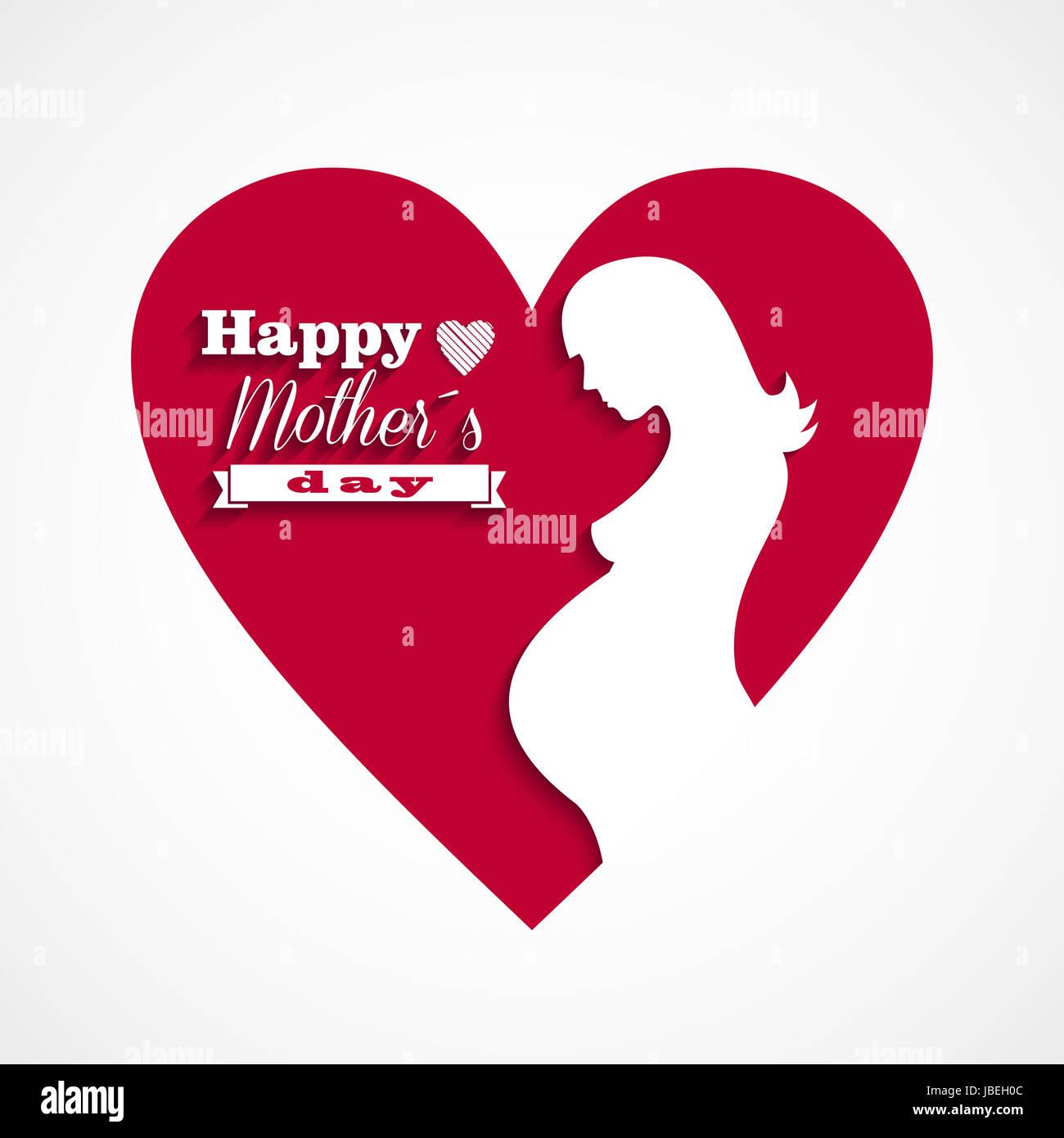 Schwanger glücklichen Mütter Tag Grußkarte mit Herz und Text. Vektor ...