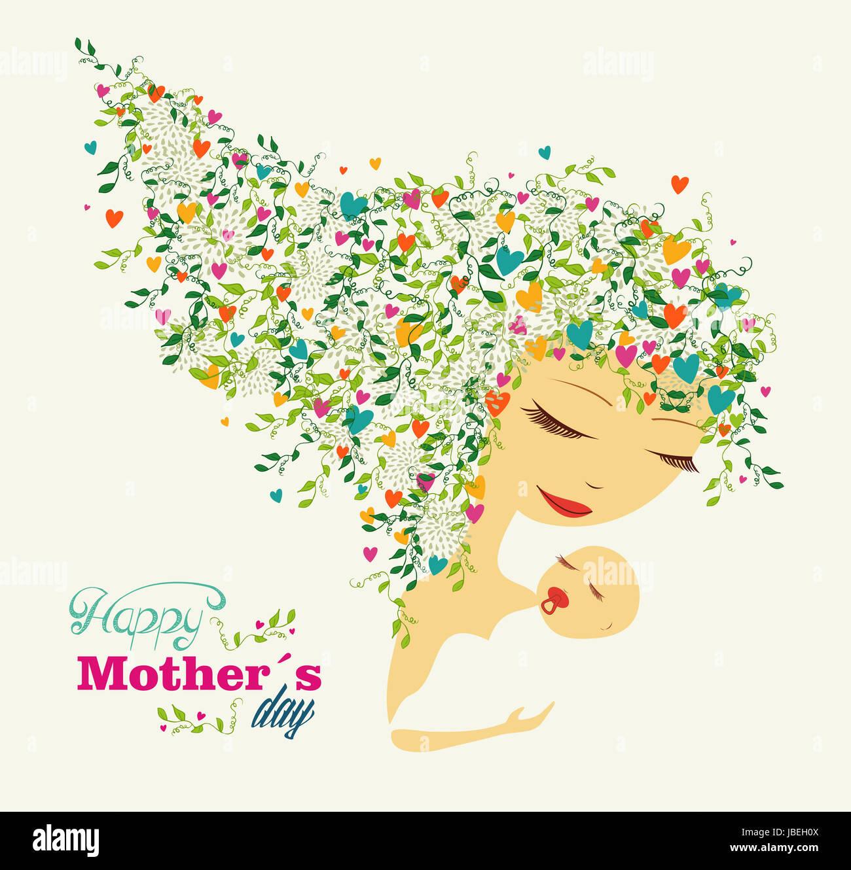 Niedliche glücklichen Mütter Tag Frau und Baby Hintergrund. Vektor ...