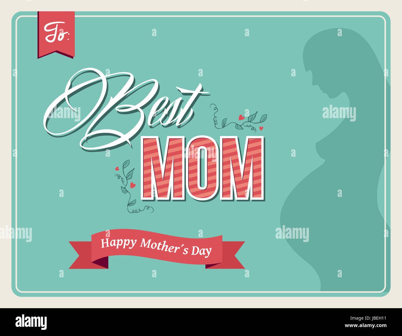 Retro-Trend glücklichen Mütter Tag Hintergrund. Beste Mama Text mit ...