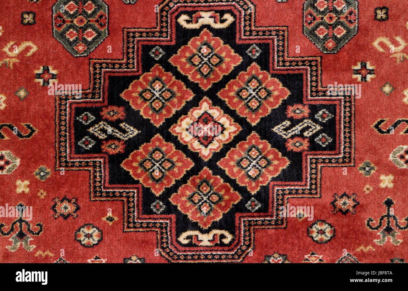 Geometrische Muster Alter Perser Teppich Closeup Stockfoto Bild