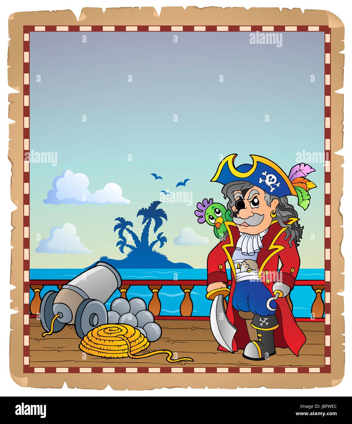 Pergament mit Piraten Schiffsdeck 2 - Bild-Darstellung. Stockbild