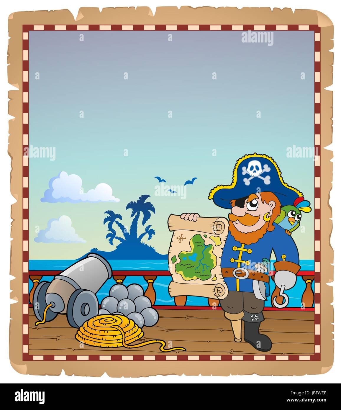 Pergament mit Piraten Schiffsdeck 3 - Bild-Darstellung. Stockbild