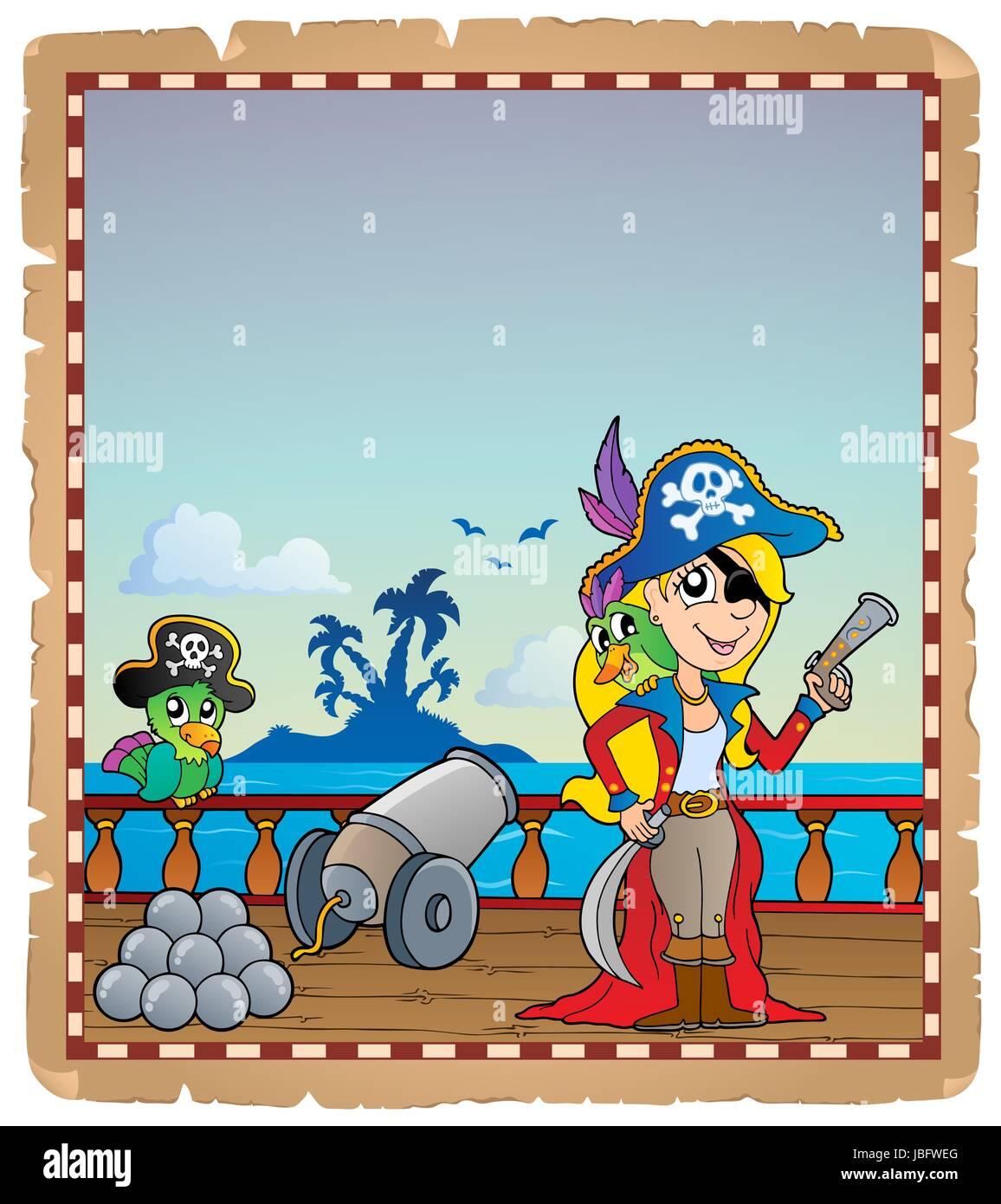 Pergament mit Piraten Schiffsdeck 4 - Bild-Darstellung. Stockbild