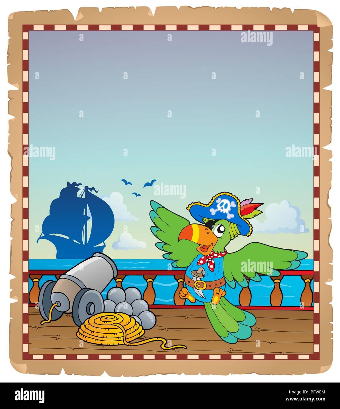Pergament mit Piraten Schiffsdeck 6 - Bild-Darstellung. Stockbild