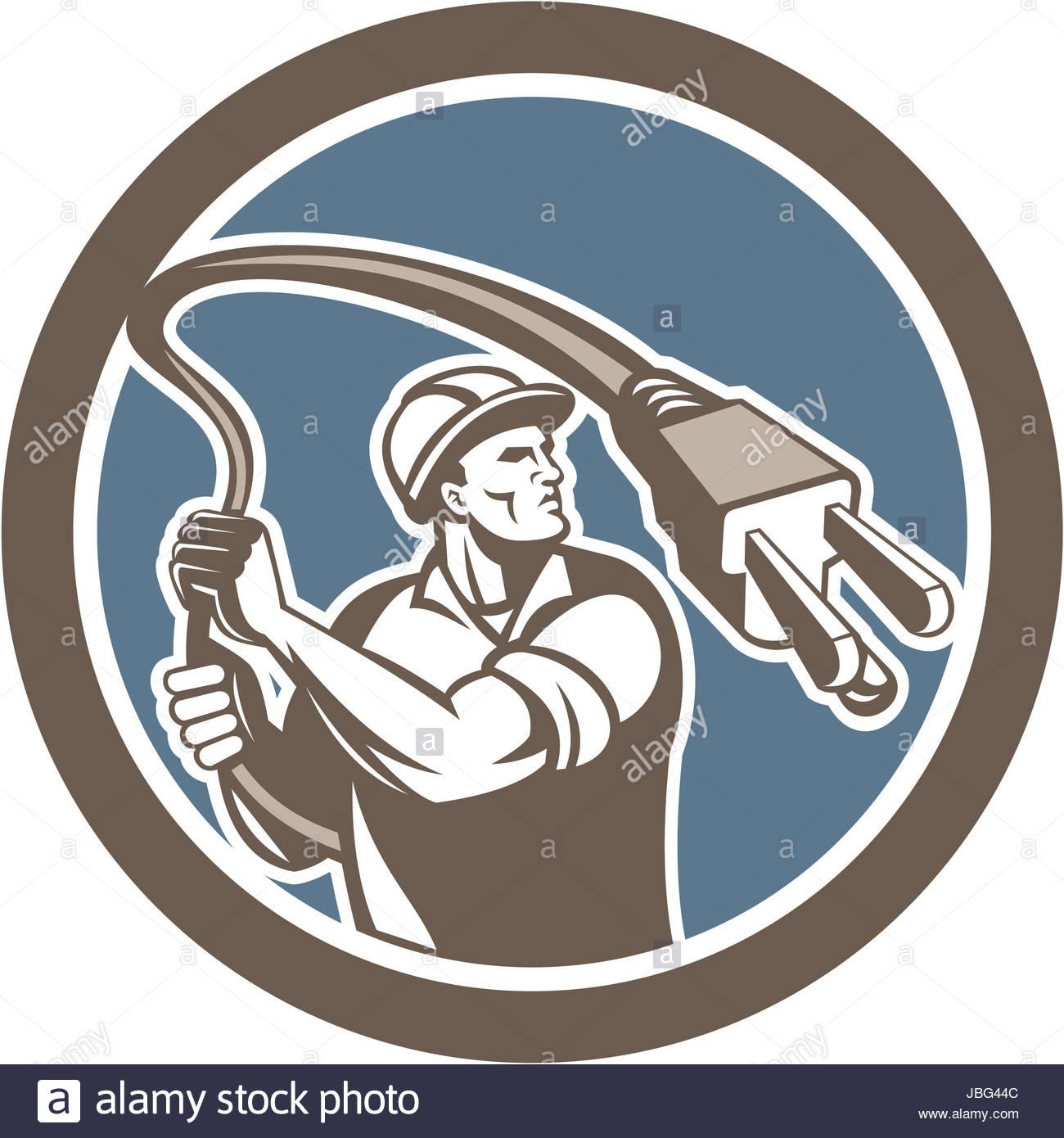Illustration von ein Elektriker Arbeiter halten Stecker wie ein ...