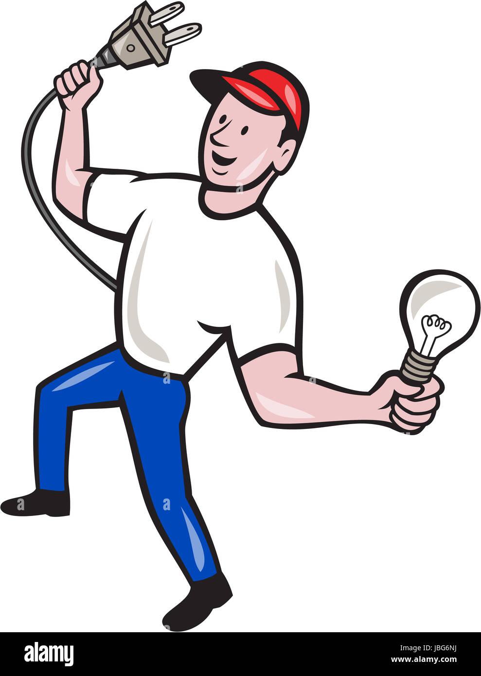 Abbildung eines Elektriker Arbeiter halten einen elektrischen ...