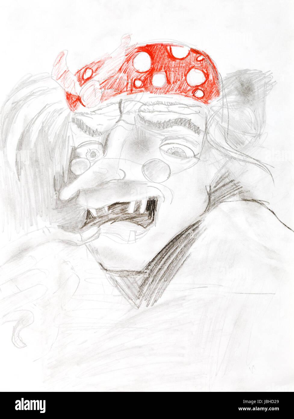 Kinder Zeichnen Portrait Von Hexe Alte Frau In Roten Hut