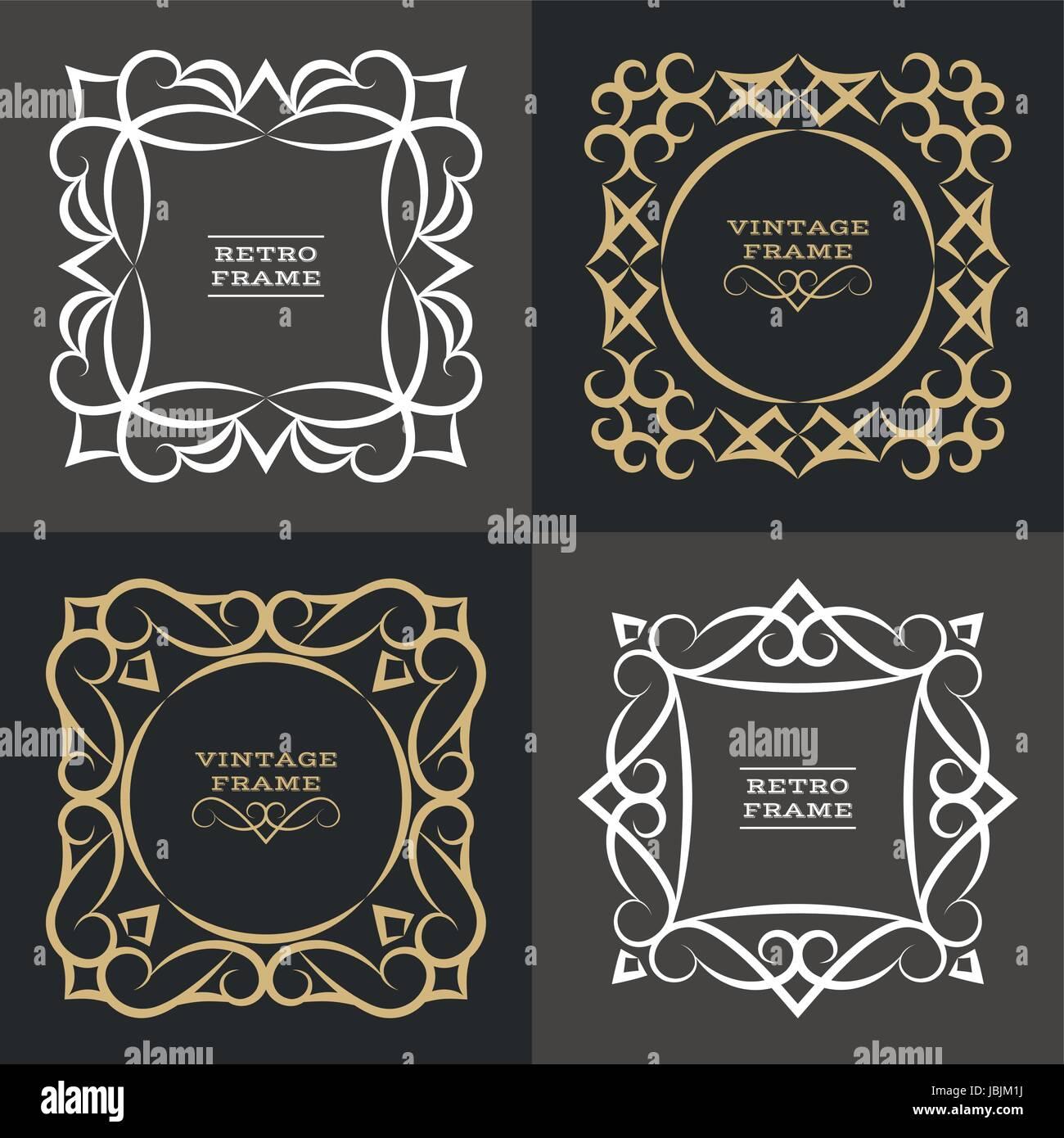 Satz Von Monogramm Linie Vintage Frames. Grußkarten. Hochzeit Einladungen.  Retro Style. Vector Logo Vorlage, Etiketten Und Abzeichen