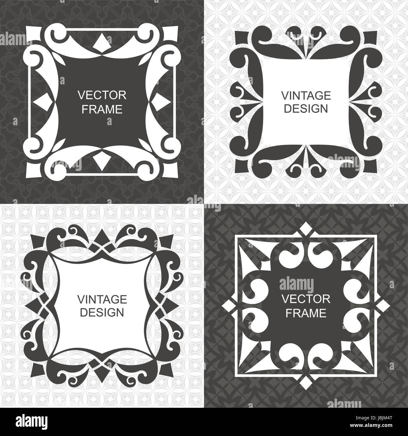 Satz Von Monogramm Vintage Frames. Grußkarten. Hochzeit Einladungen. Retro  Style. Vector Logo Vorlage, Etiketten Und Abzeichen