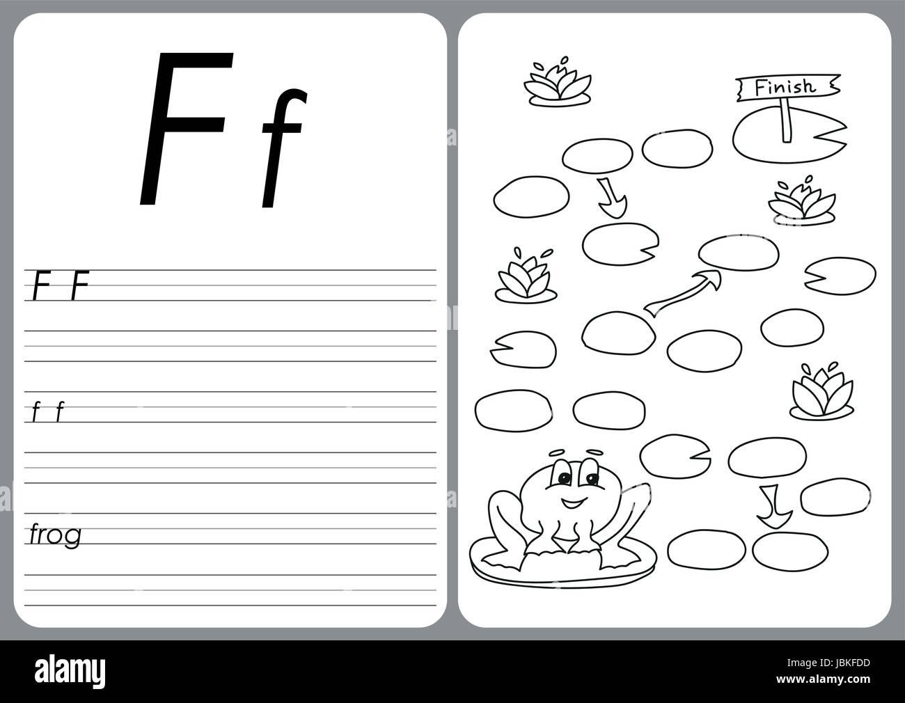 Cartoon-Frosch-Spiel. Vektor Buch Malvorlagen Vektor Abbildung ...