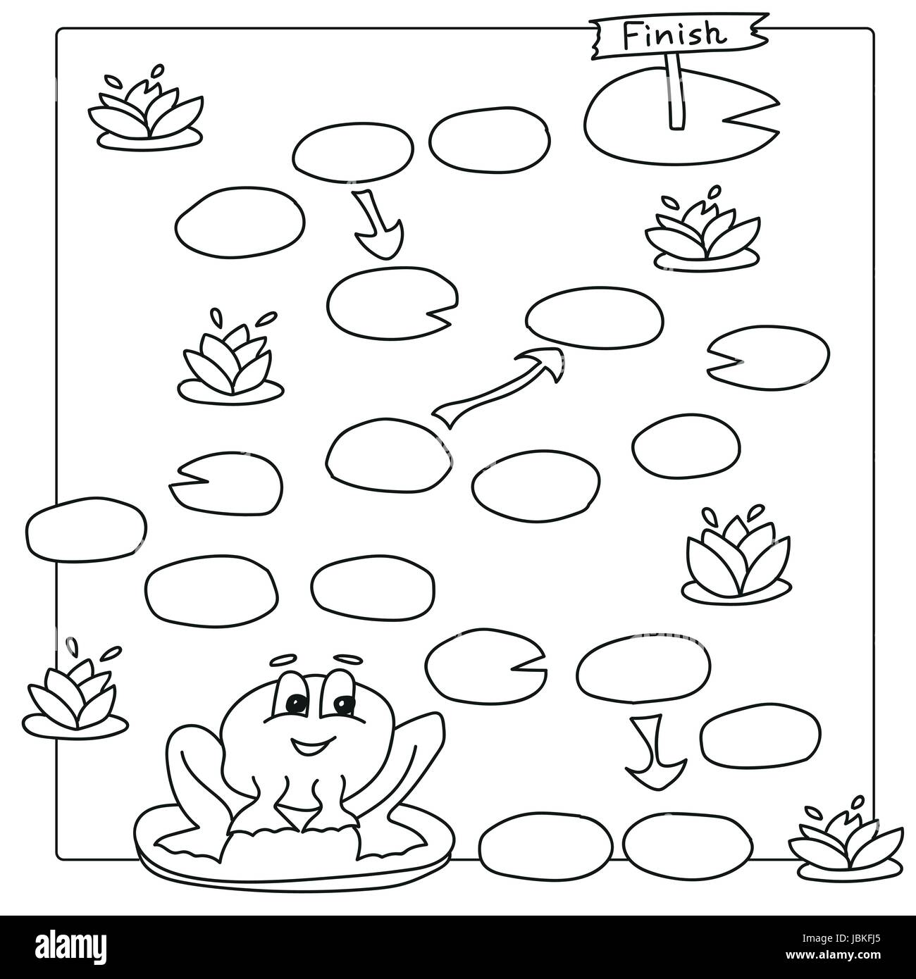 Spiel-Vorlage mit Frosch. Vektor Buch Malvorlagen für Kinder Vektor ...