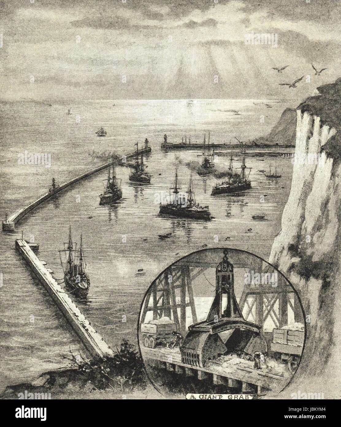 Dover Hafen Zuflucht im Jahre 1909 abgeschlossen Stockbild