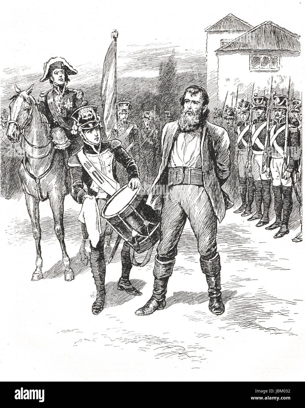 Hinrichtung von Andreas Hofer (Führer des Tiroler Aufstandes gegen die napoleonische Invasion) in Mantua, 1810 Stockbild