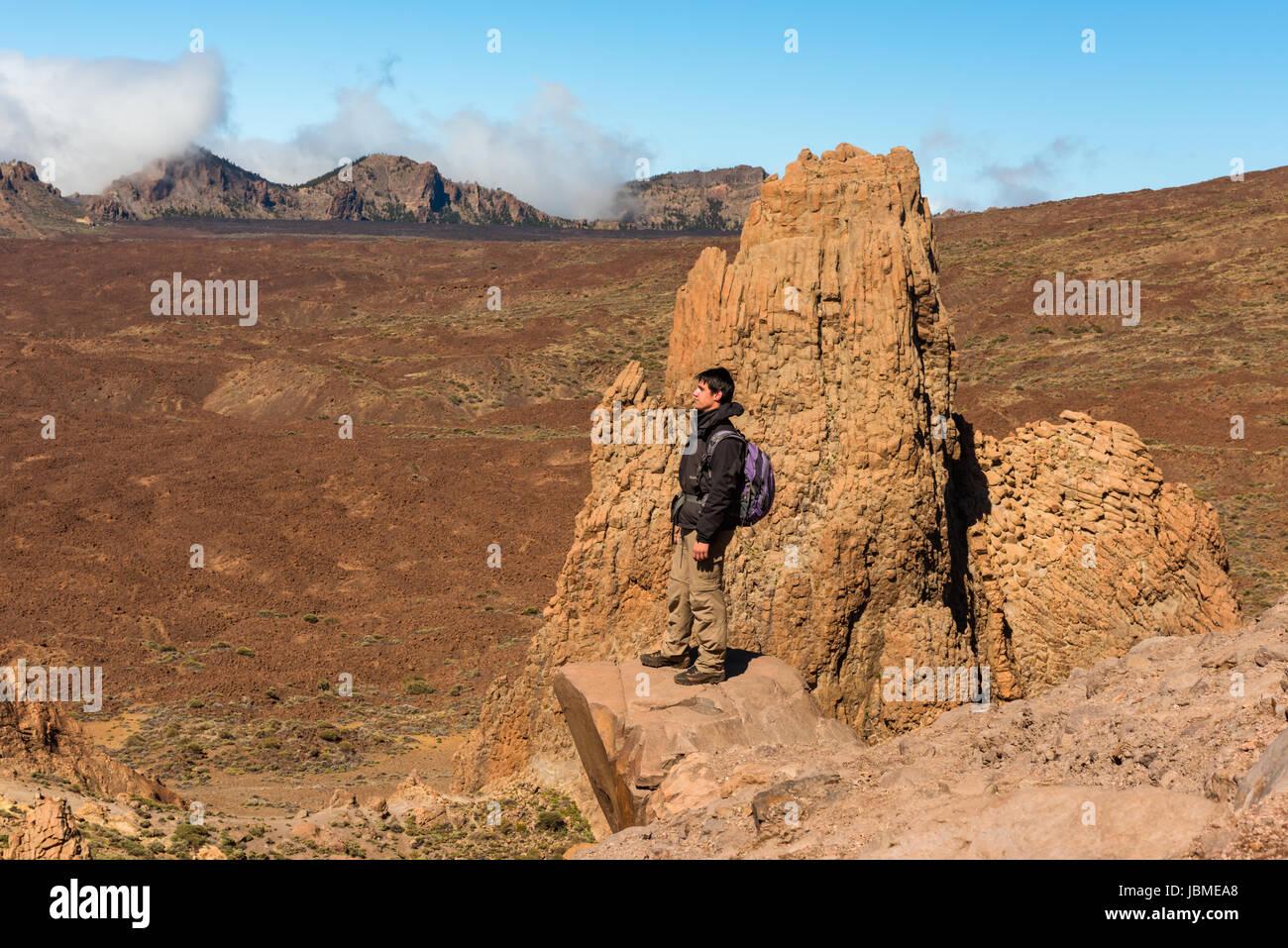 Wanderer Mensch Wandern Teide Nationalpark Tenefire Stockbild