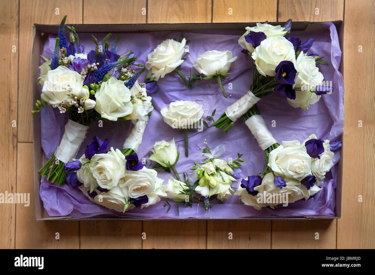 Feld Der Hochzeitsblumen In Weiss Und Lila Stockfoto Bild 144901749