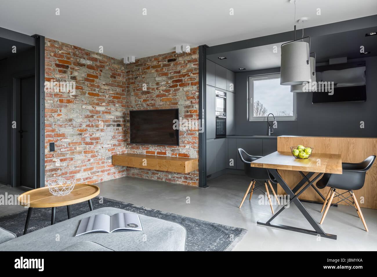 Modernes Wohnzimmer Mit Offene Küche Mit Dunklen Grau