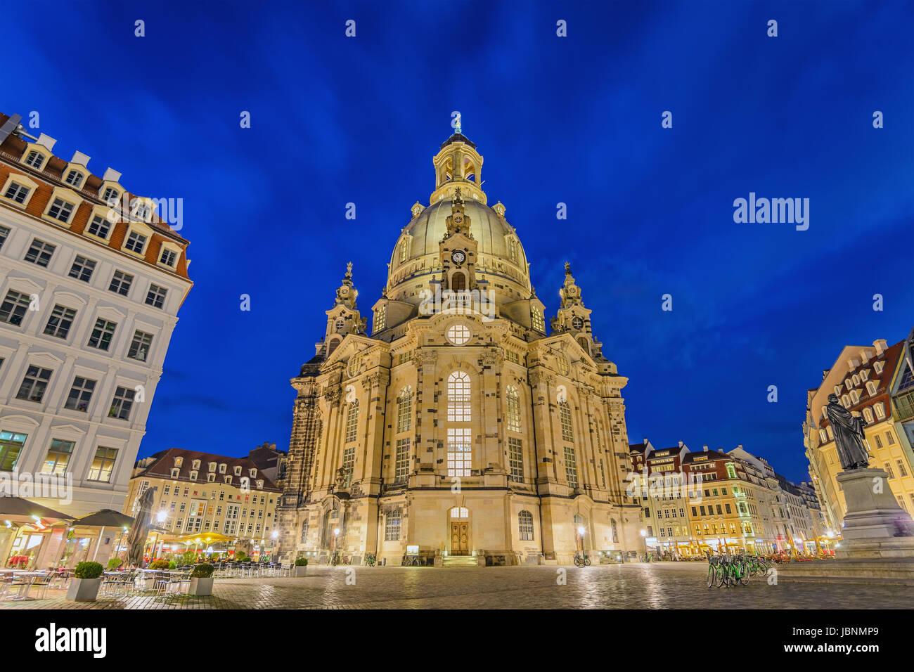 Dresdner Frauenkirche (Liebfrauenkirche) in der Nacht, Dresden, Deutschland Stockbild